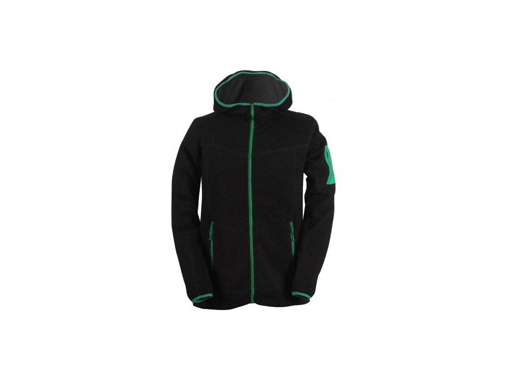 HEDEN -pánský svetr s kapucí a zipem (flatfleece) - černý