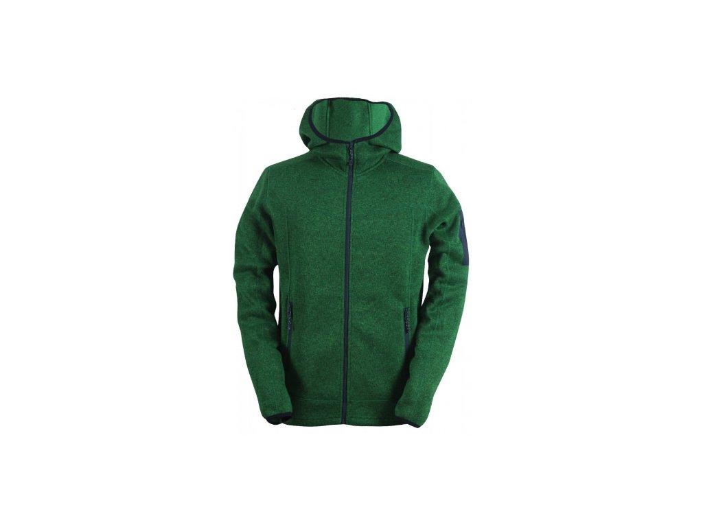 HEDEN -pánský svetr s kapucí a zipem(flatfleece) - zelený