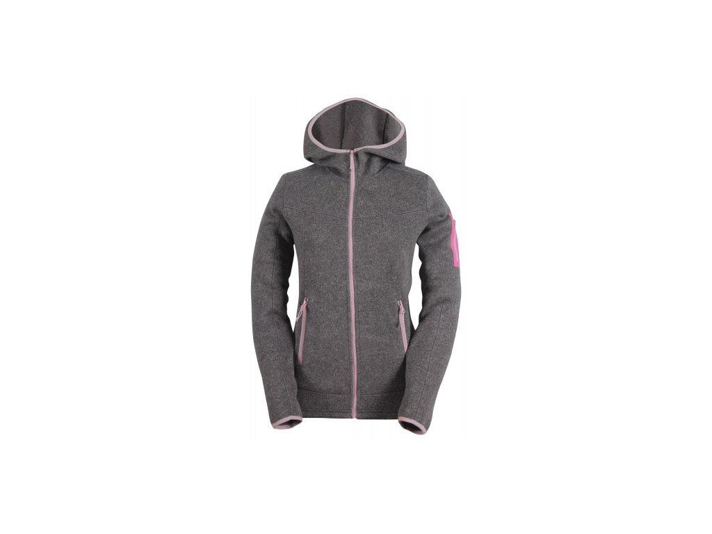 HEDEN -dámský svetr s kapucí a zipem(flatfleece) - šedý