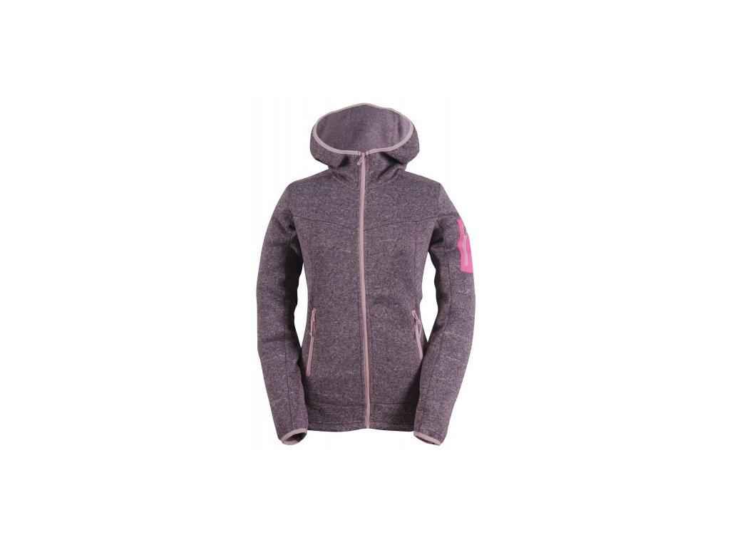 HEDEN -dámský svetr s kapucí a zipem(flatfleece) - fialový