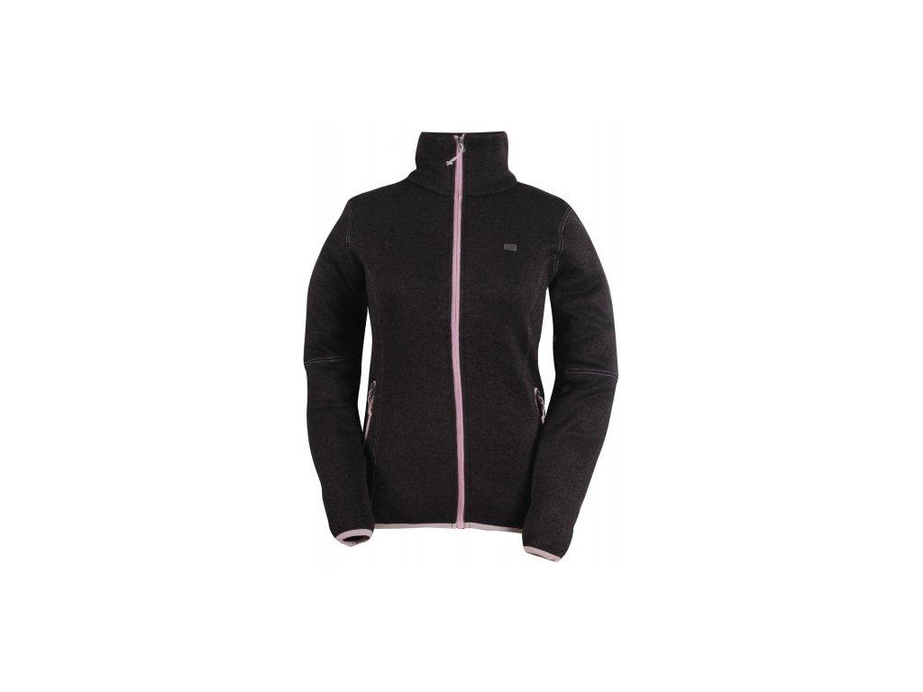 TOBO - dámský svetr se zipem (flatfleece) - černý