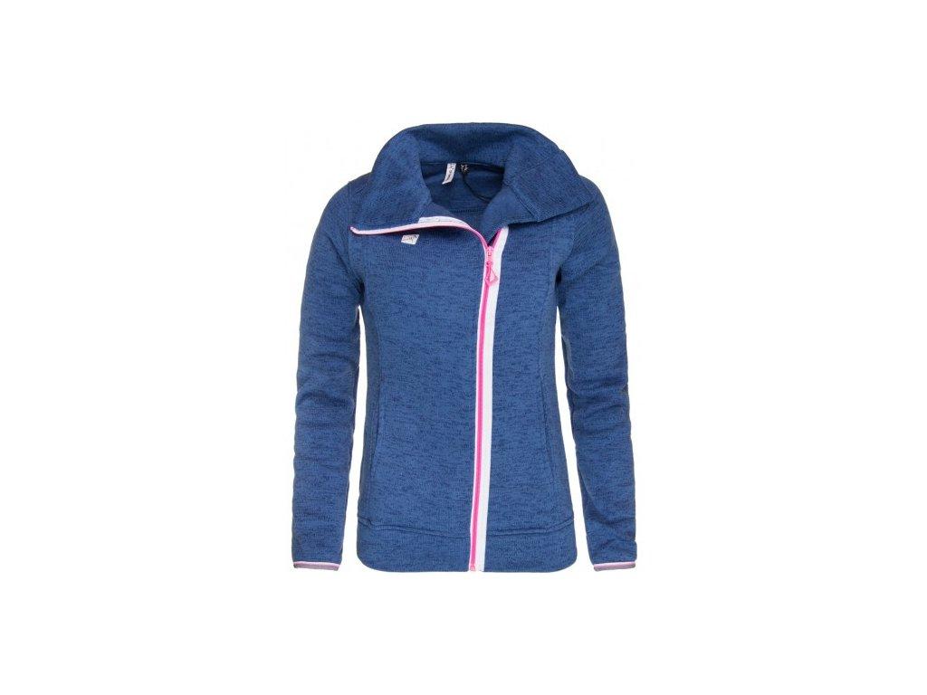 STORBO - dámský svetr (wavefleece, of center zip) - modrý