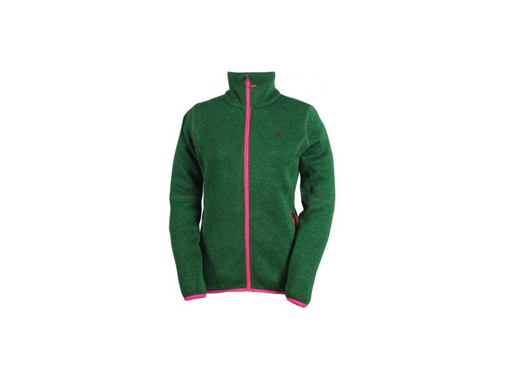 TOBO - dámský svetr se zipem (flatfleece) - zelený