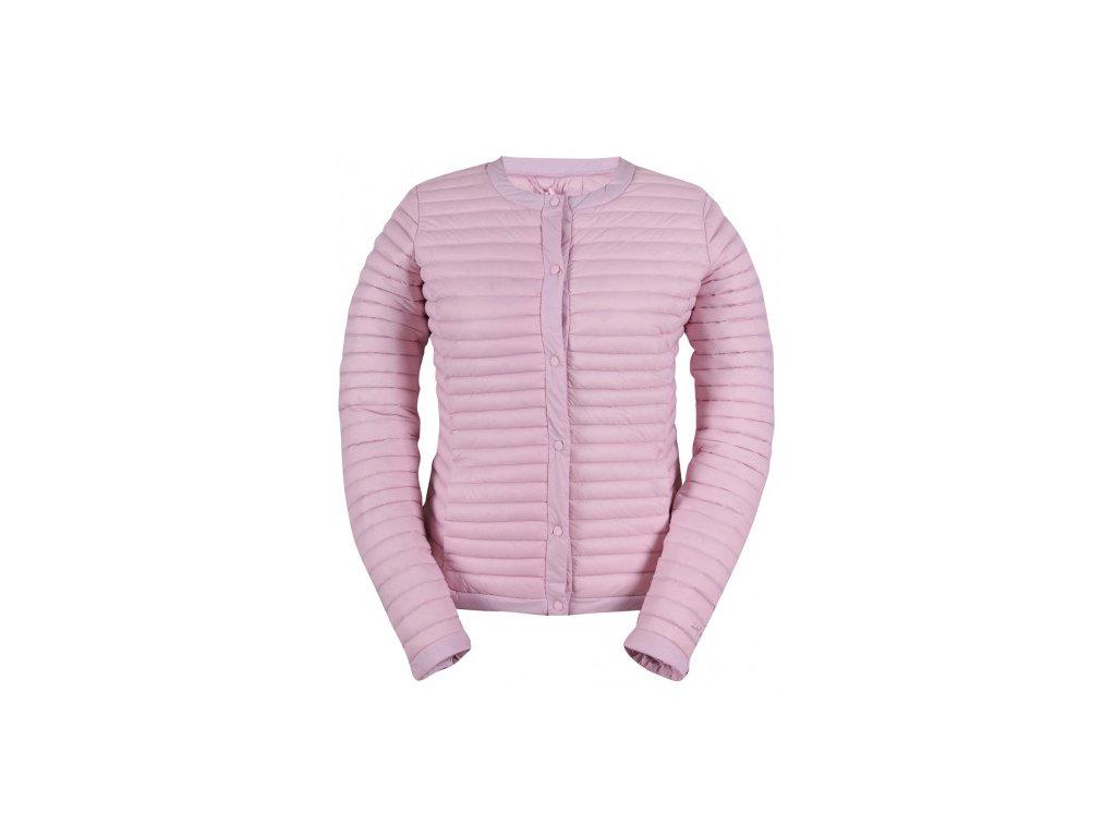 BACKE - dámský péřový kabátek (bez kapuce) - růžový