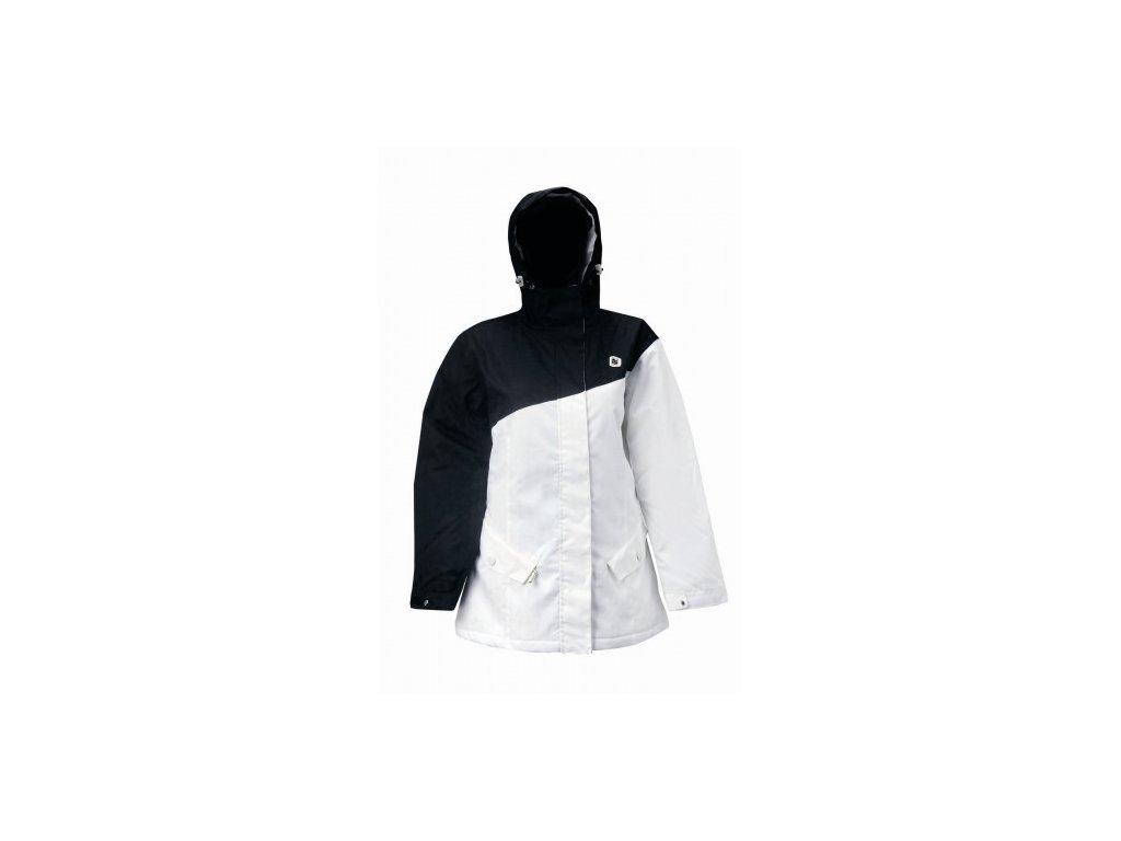 DROMMEN - dámská zimní lyžařská bunda s kapucí - černo- bílá