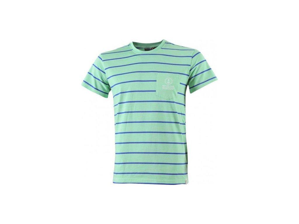 MARINE- pánské pruh.triko s kr.ruk. - zelené