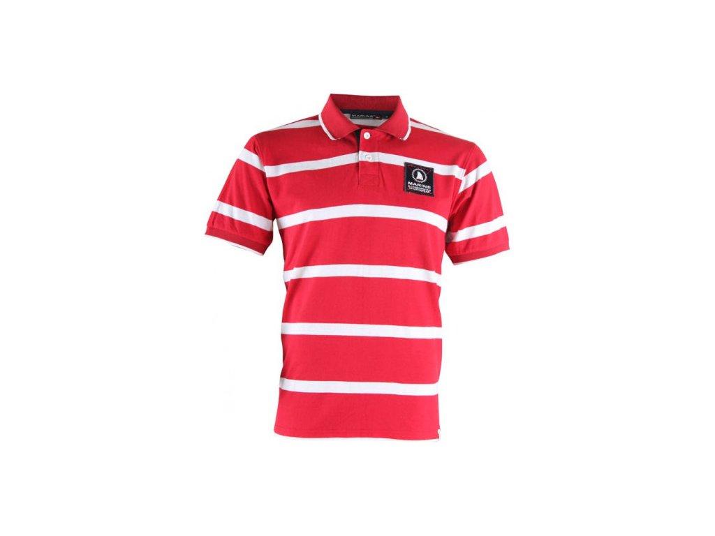 MARINE - pánské triko s límečkem-piké - červené