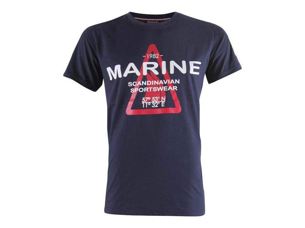 MARINE-pánské triko s náp. - modré