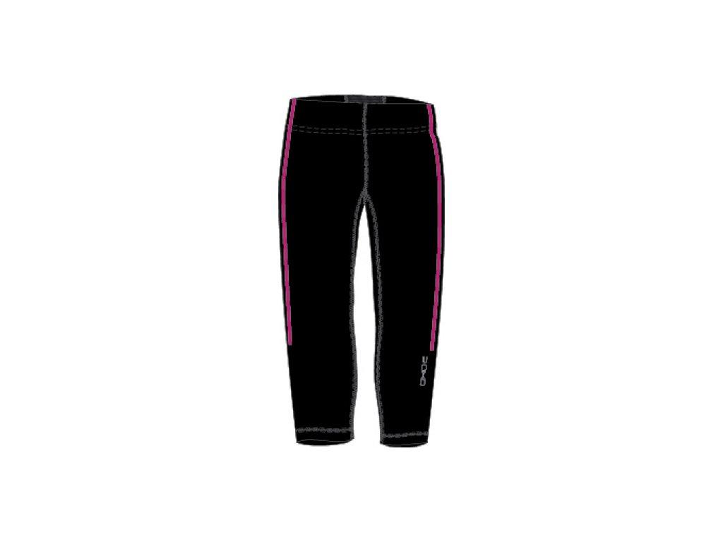 OXIDE - dámské elastické kalhoty 3/4 - černorůžové