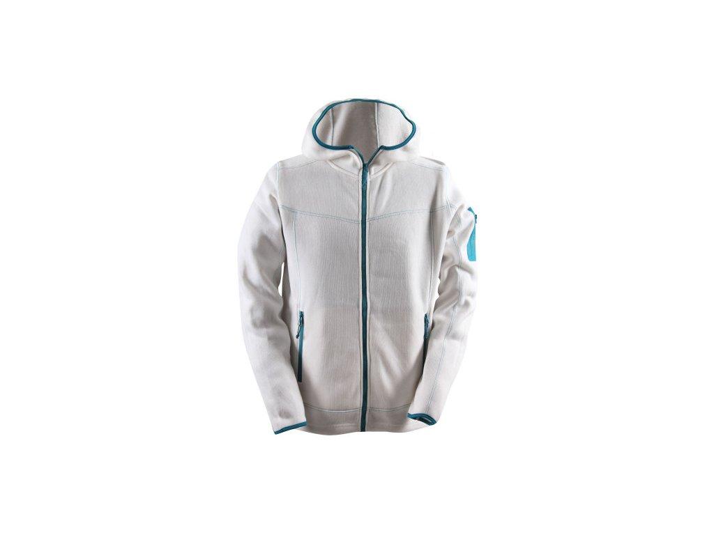 HEDEN - pánský celorozepínací svetr s kapucí (flatfleece) - bílá