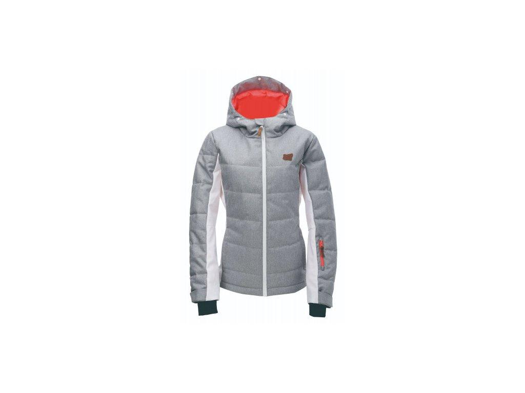 BJÖRNÖ - dámská zimní lyžařská bunda s kožeš. kapucí - světle šedá