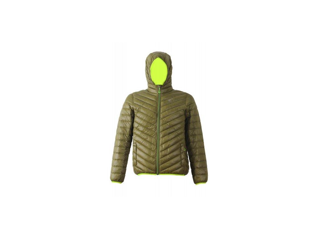 KOBASET - pánská péřová bunda s kapucí - zelená