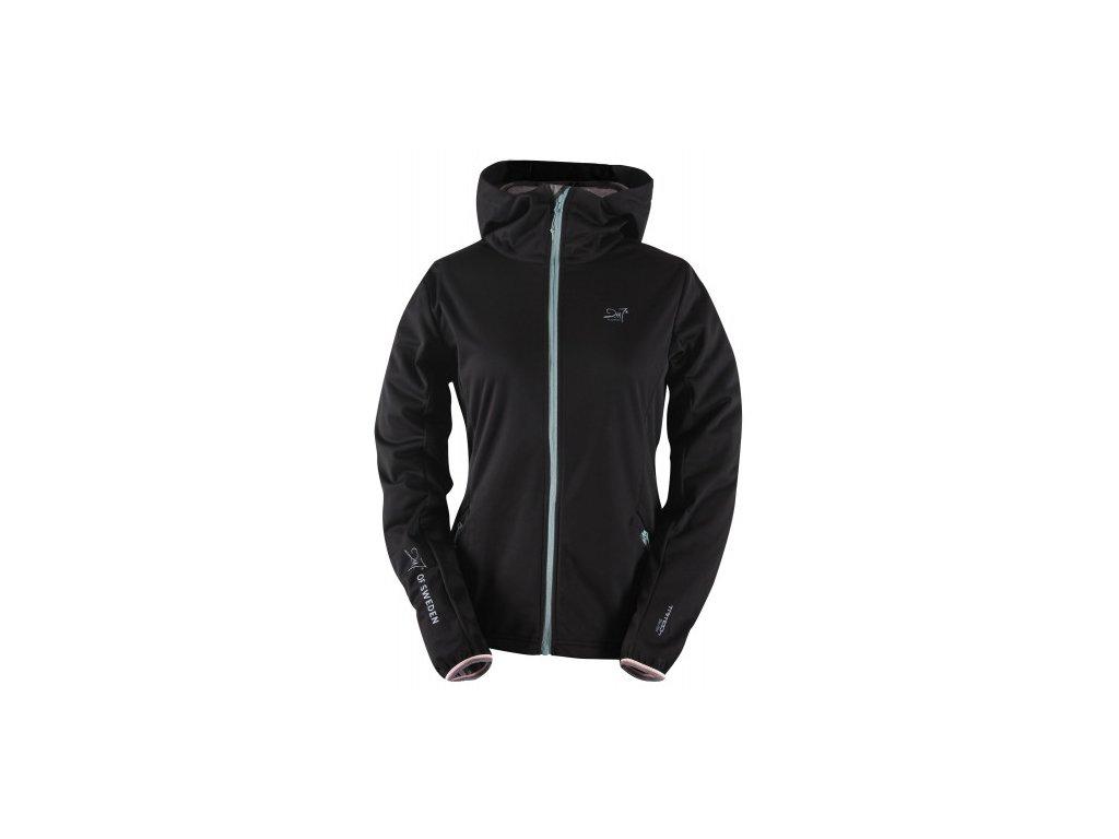 NÄSAKER- dámská softshellová bunda s kapucí - černá