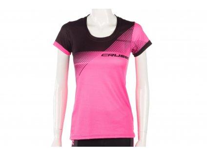 Crussis Dámské sportovní tričko CRUSSIS, krátký rukáv, růžová/černá