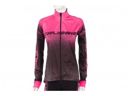 Crussis Dámská cyklistická bunda CRUSSIS No-Wind, černá/růžová