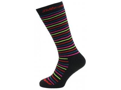 lyžařské ponožky BLIZZARD Viva Allround ski socks junior, black/rainbow stripes