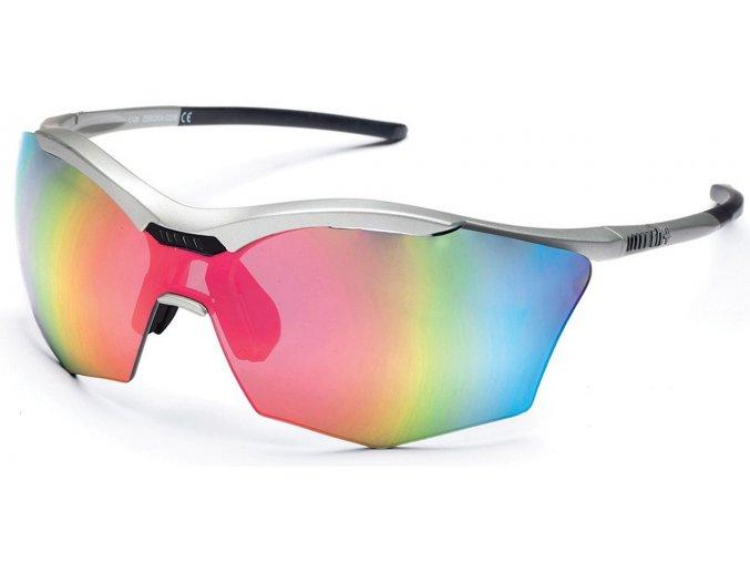 sluneční brýle RH+ Ultra Stylus, matt silver/black, smoke flash silver/pink + orange lens