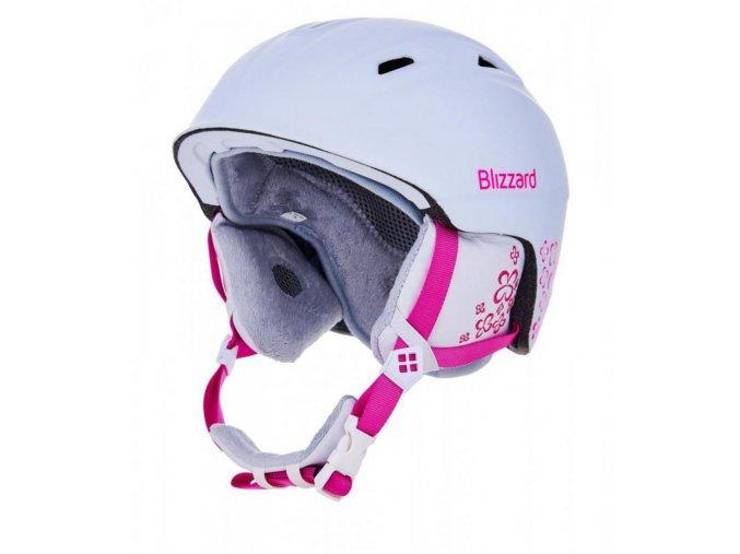 helma BLIZZARD Viva Demon ski helmet, white matt/magenta flowers (Veľkosť 56-59)