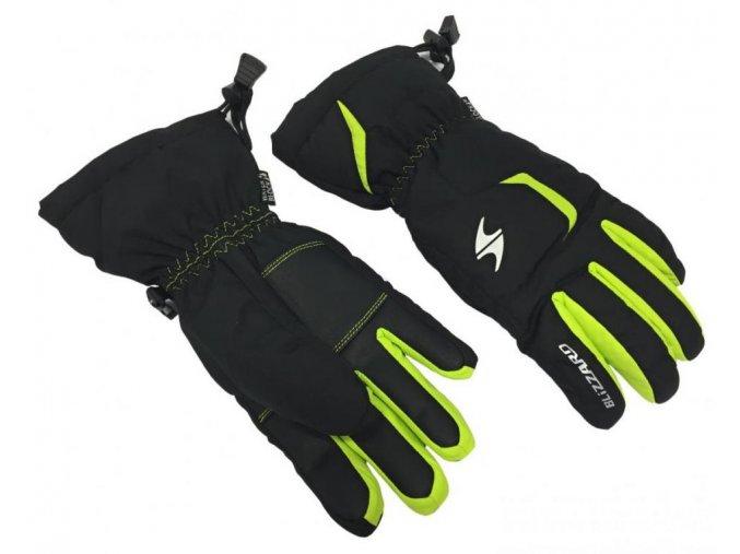 lyžařské rukavice BLIZZARD Reflex junior ski gloves, black/green (Veľkosť 6)
