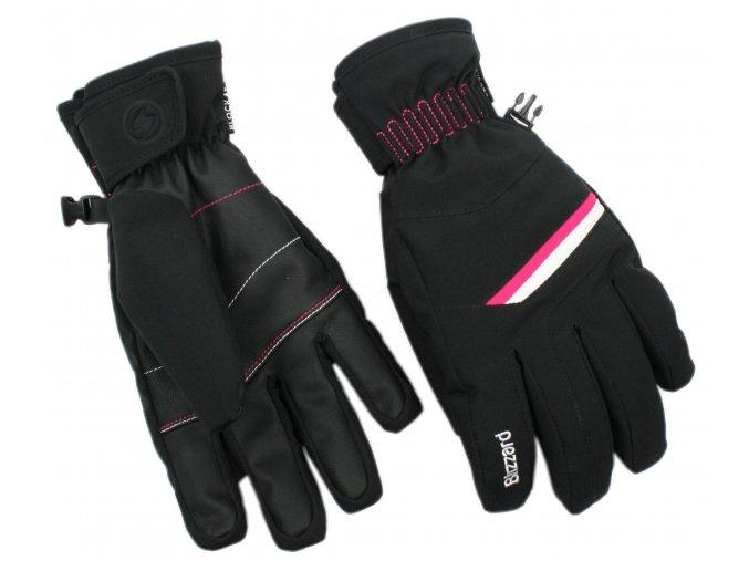 lyžařské rukavice BLIZZARD Viva Plose, black/white/pink (Veľkosť 8)