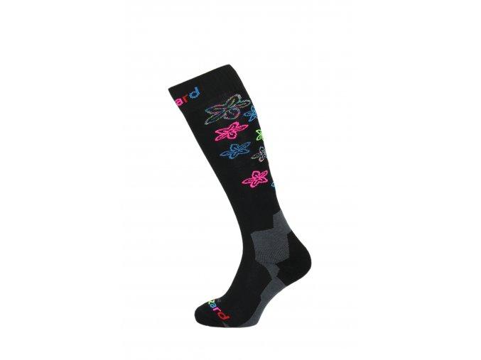 Lyžiarske ponožky BLIZZARD Viva Flowers ski socks, black/flowers (Veľkosť 39-42)