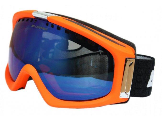 9831 lyzarske bryle blizzard bliz ski gog 933 mdavzs neon orange matt amber2 blue mirror