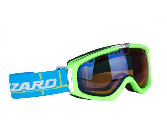 9849 lyzarske bryle blizzard bliz ski gog 933 mdavzs neon green matt amber2 blue mirror