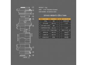 Hlavové zloženie AL A-H 28,6 čierne cartridge