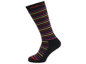 Lyžiarske ponožky BLIZZARD Viva Allround ski socks junior, black/rainbow stripes
