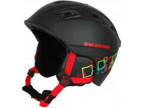 helma BLIZZARD Demon ski helmet junior, black matt/colorfull squares (Veľkosť 51-55)