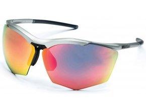 sluneční brýle RH+ Super Stylus, matt silver/black, smoke flash silver/pink + orange lens