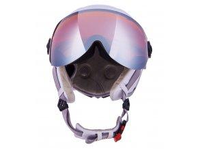 helma BLIZZARD Viva Double Visor ski helmet, white matt/silver, orange lens, mirror (Veľkosť 56-59)