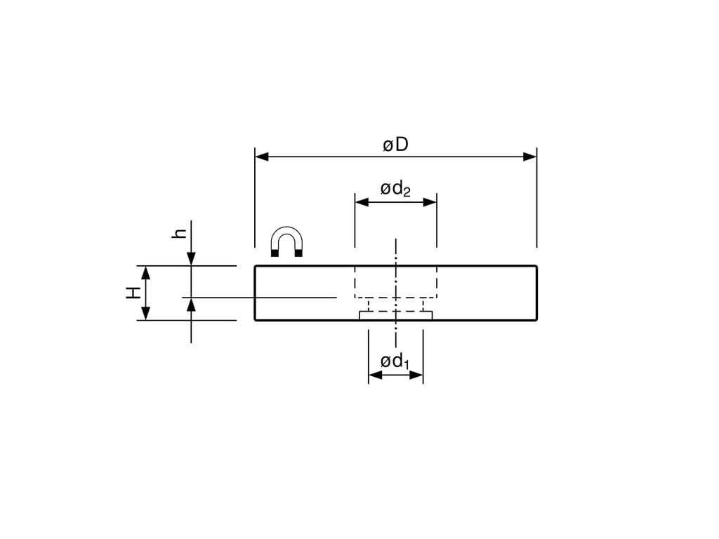 Neodymový pogumovaný magnet se středovou dírou 22x4x6 mm