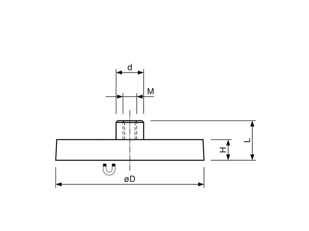 Neodymový pogumovaný magnet se závitovým pouzdrem 22x11,5x6 mm