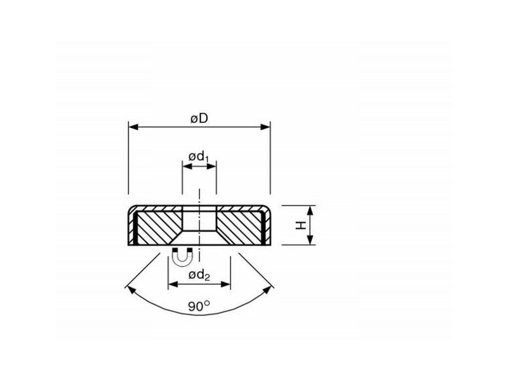 5054 feritova magneticka cocka nerezova se stredovou dirou s 90 srazenim4