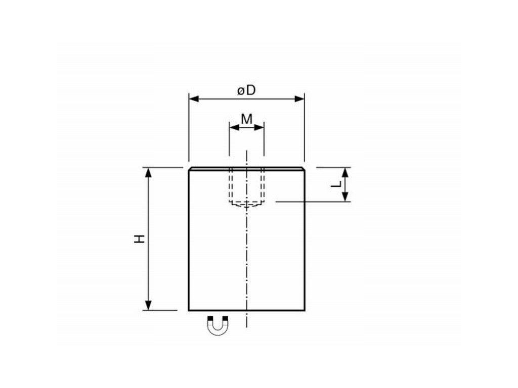 AlNiCo magnetická čočka válcová s vnitřním závitem 6x20 mm