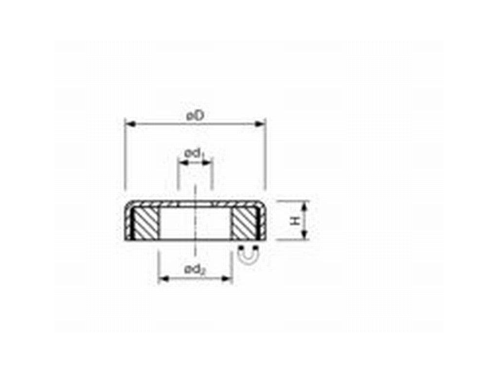 Feritová magnetická čočka se středovou dírou 50x8.5x10 mm