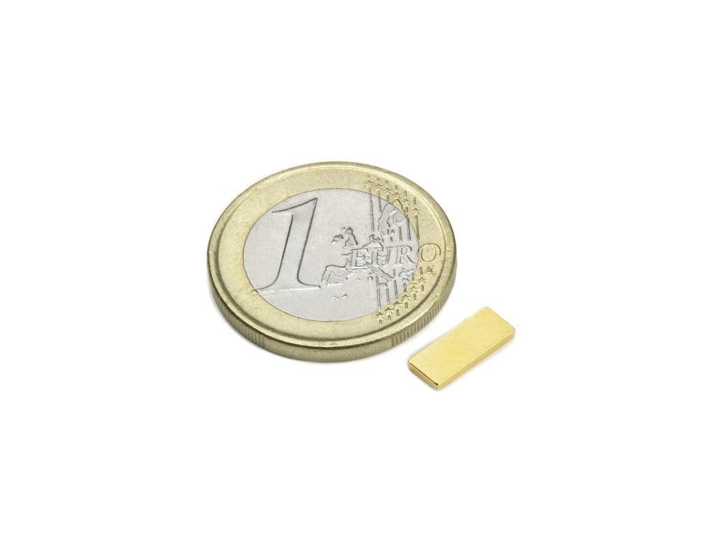 Neodymový magnet hranol 10x4x1.2mm, NdFeB, N50, pozlacený