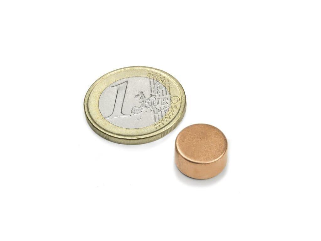 Neodymový magnet válec D12x6mm, Neodym, N45, poměděný