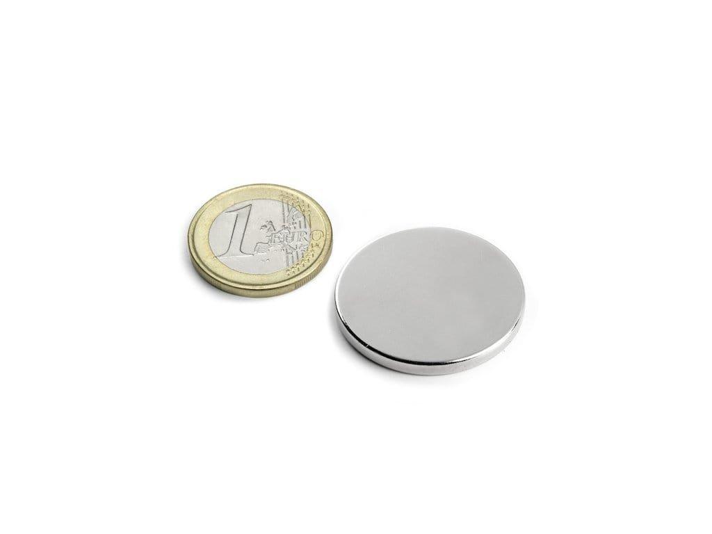 Neodymový magnet válec D30x3mm, Neodym, N45, poniklovaný