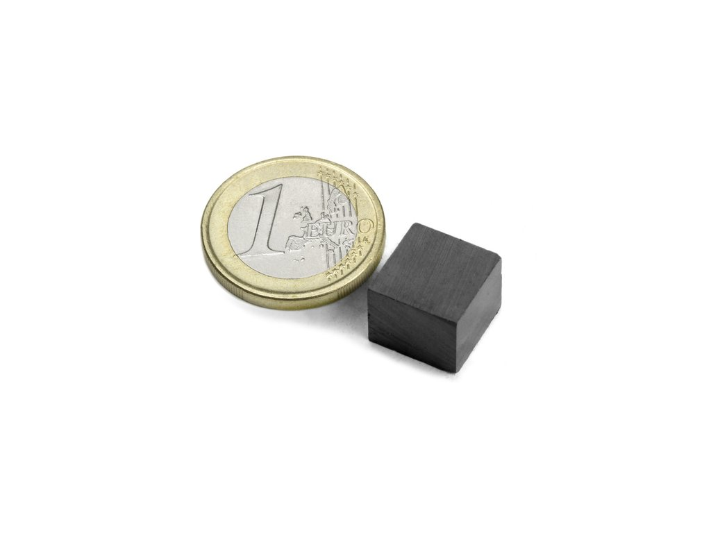 Feritový magnet hranol 12x12x10mm, Ferit, Y35, bez povrchové úpravy