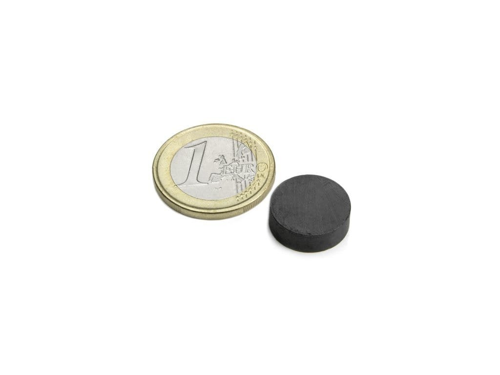Feritový magnet válec D15x5mm, Ferit, Y35, bez povrchové úpravy