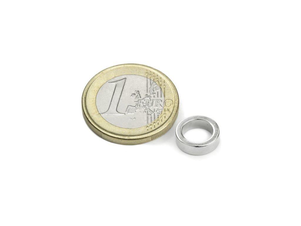 Neodymový magnet mezikruží D10/7mm, H3mm, Neodym, N45, poniklovaný, diametral magnetisiert