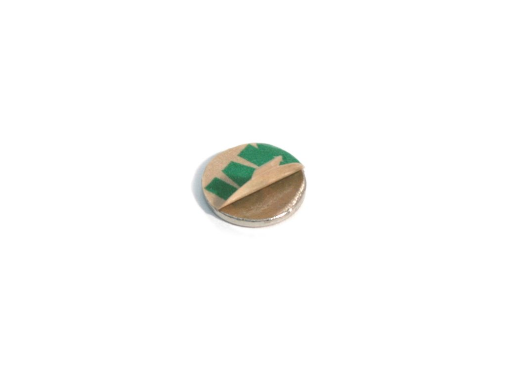 Neodymový magnet válec (samolepící) D10x0.6mm, Neodym, N35,poniklovaný