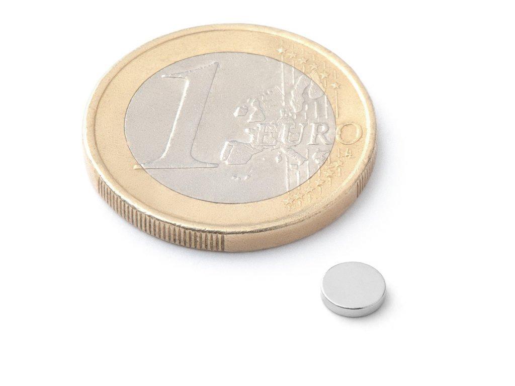 Neodymový magnet válec D5x1 mm, Neodym, N38, poniklovaný
