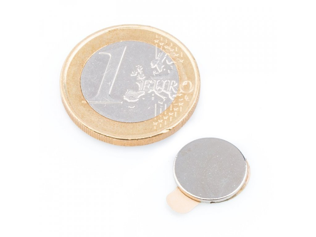 Neodymový magnet válec (samolepící) D12x1 mm, Neodym, N40, poniklovaný