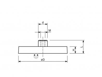 Neodymový pogumovaný magnet se závitovým pouzdrem 12x14,8x7 mm