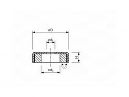 Feritová magnetická čočka nerezová se středovou dírou 50x8.5x10 mm