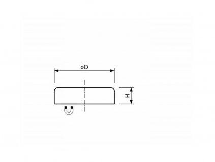 Feritová magnetická čočka plochá bez závitu 125x26 mm