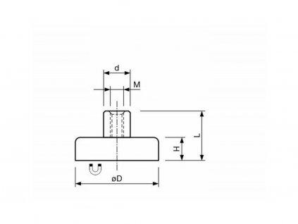 Feritová magnetická čočka nerezová se závitovým pouzdrem 32x16x7 mm